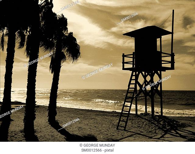 Watch tower on the Beach at Algarrobo Costa; Costa Del Sol; Malaga Province; Andalucia; Spain