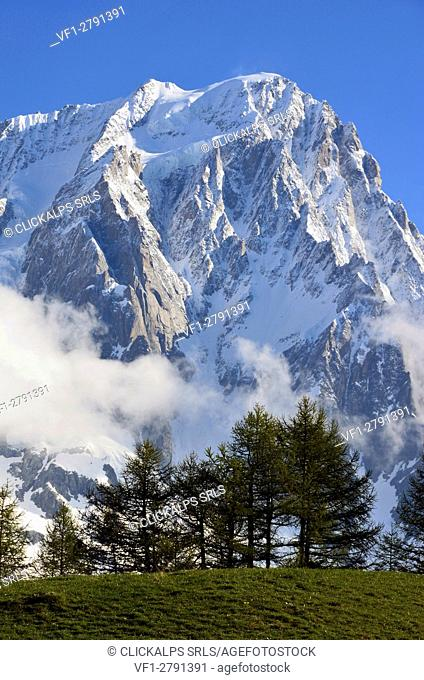 Grand Jorasses (Mont Blanc) after a snow storm, Ferret Valley, Aosta Valley, Italy