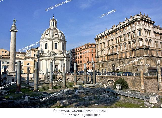 Santissimo Nome di Maria, Church of the Most Holy Name of Mary at the Trajan Forum with the Trajan Forum and columns, architect Antoine Derizet, 1736-1751, Rome