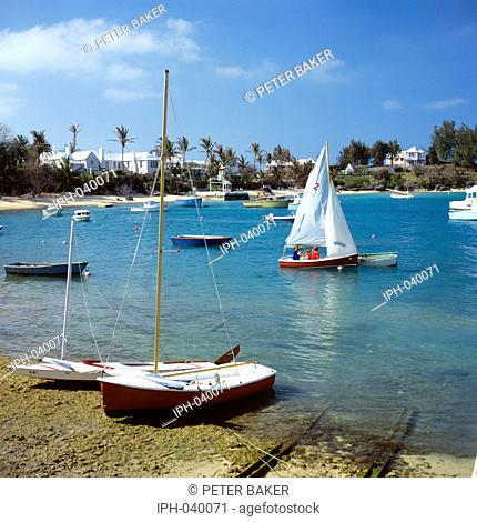 Sailing off Cambridge Beaches near Somerset Village on the Bermudan island of Somerset