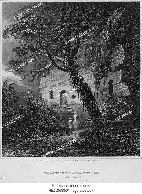 'Warkworth Hermitage, Northumberland', 1814. Artist: John Greig