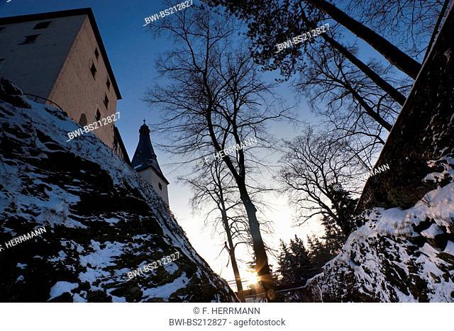 church and castle Mylau in winter, Germany, Saxony, Mylau