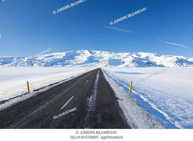 Ring Road in winter. South Iceland