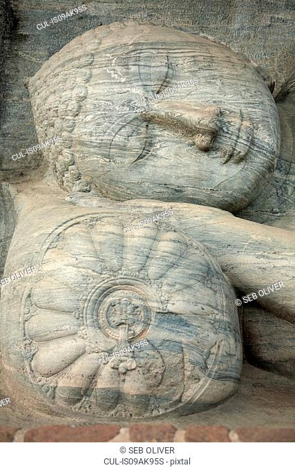 Close up of reclining buddha, Anuradhapura, Sri Lanka