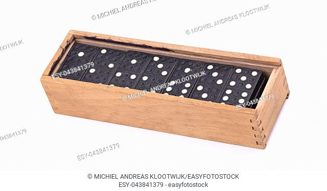 Old domino game isolated on a white background