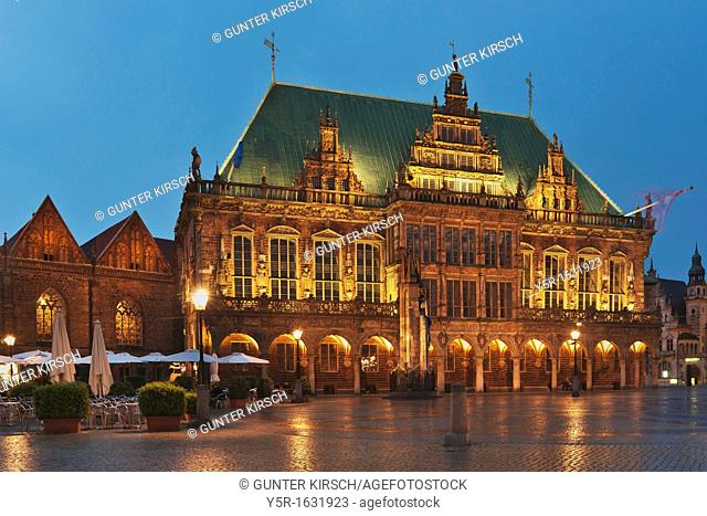 View over the marketplace of Bremen to the town hall The Bremen Town Hall is one of the most important monuments of the Gothic and the Weser Renaissance in...