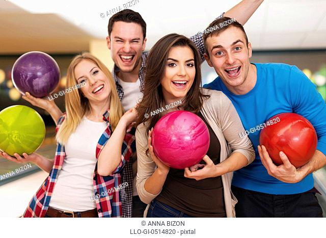 Happy friends bowling together. Rzeszow, Poland