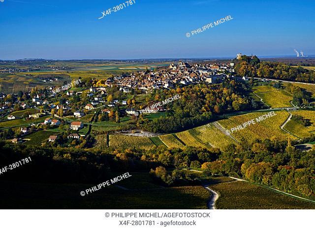 France, Cher 18, Berry, Sancerre village, vineyard in autumn, aerial view