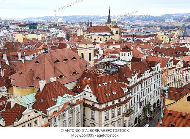 Aerial view of Old Town buildings in Prague. Czech Republic