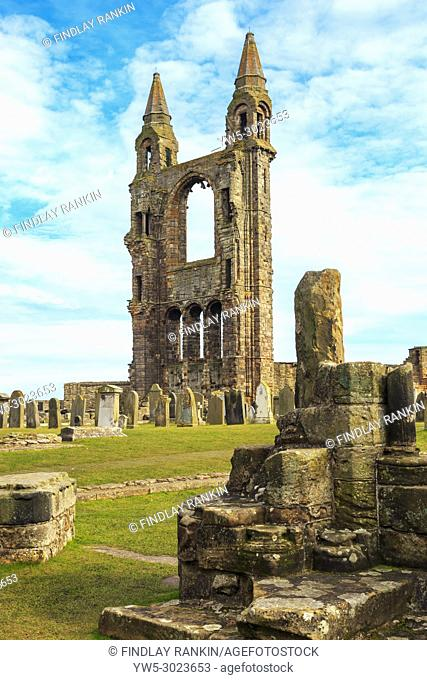 Detail of the ruins of St Andrews Cathedral, St Andrews, Fife, Scotland