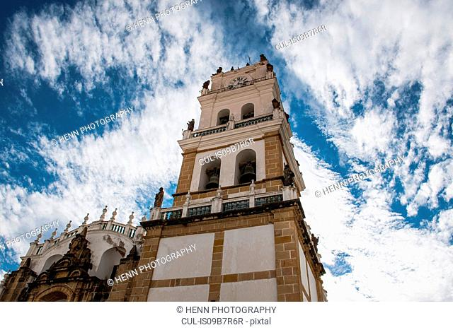 Low angle view of Sucre Metropolitan Cathedral, Chuquisaca, Bolivia