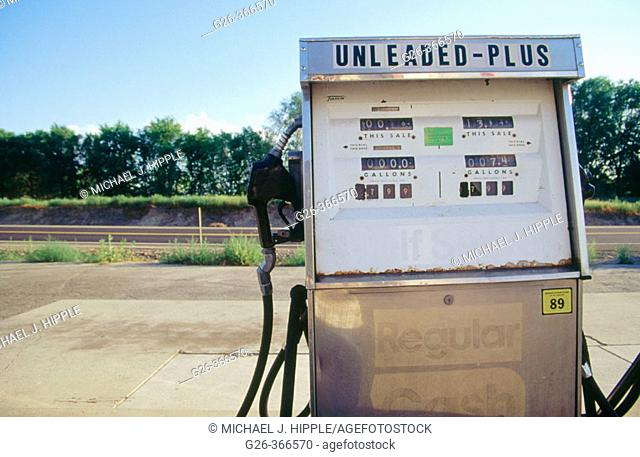Old gas station in the town of Zillah, Washington. USA