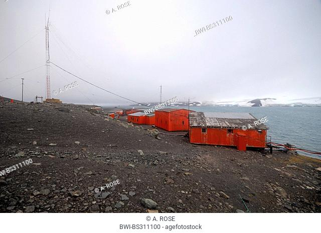 Jubany Research Station in the waste landscape of Potter Cove, Antarctica, King George Island