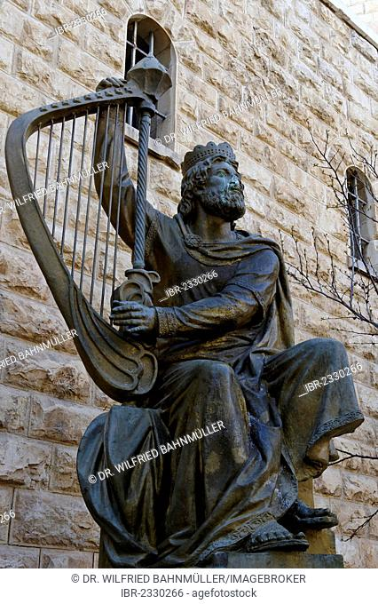 Statue of King David with a harp, Hagia Maria Sion Abbey, also known as Abbey of the Dormition of the Virgin Mary, Mount Zion, Jerusalem, Israel, Middle East