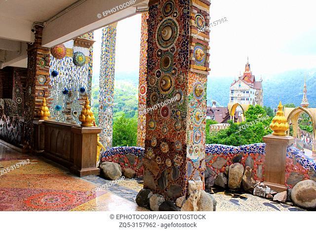 Pillars, floors, facades, walls decorated with colorful mosaic design throughout the building at Pha Sorn Kaew, Khao Kor, Phetchabun, Thailand