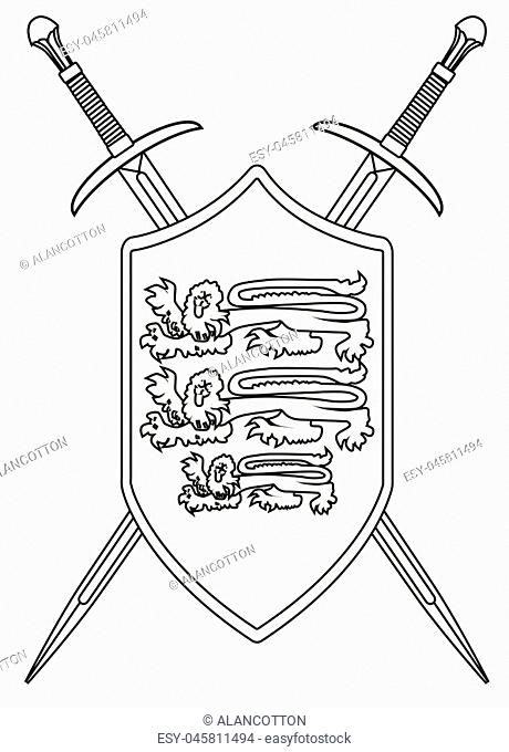 A sword typical of a knight of old isolated on a white background with shield and enblem