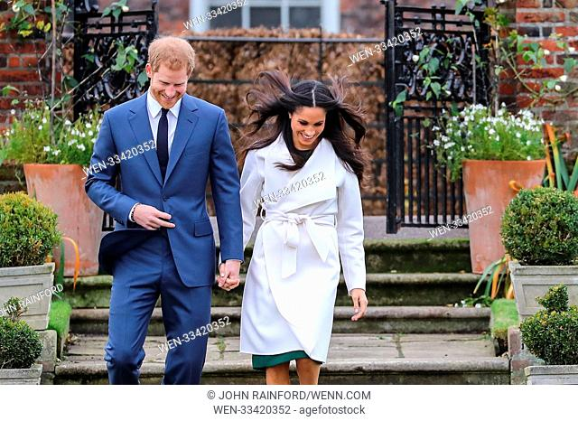 Prince Harry and Meghan Markle attend a photo call at Kensington Palace to mark their engagement Featuring: Prince Harry, Meghan Markle Where: London