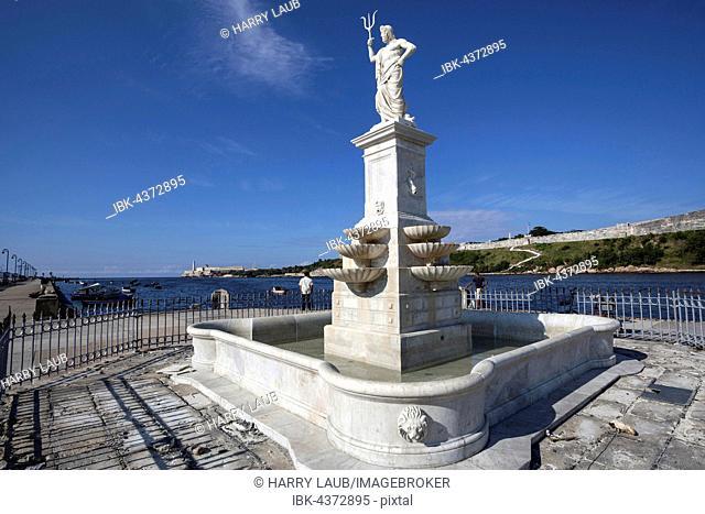 Neptune statue at the Malecon, Old Havana, Havana Vieja, Cuba
