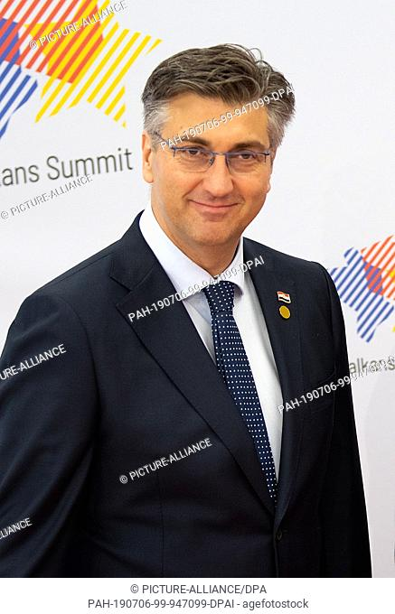05 July 2019, Poland, Posen: Andrej Plenkovic, Prime Minister of Croatia, recorded at the Western Balkans Summit. The aim of the Summit is to assist the Balkan...