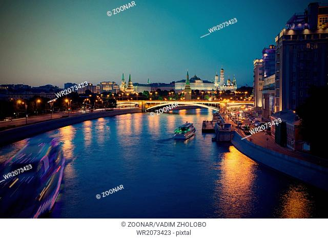 Russia-01.06.2014, night view of Kremlin, Moscow