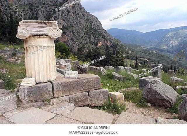 greece, delphi, archeological area, the corinthian treasury