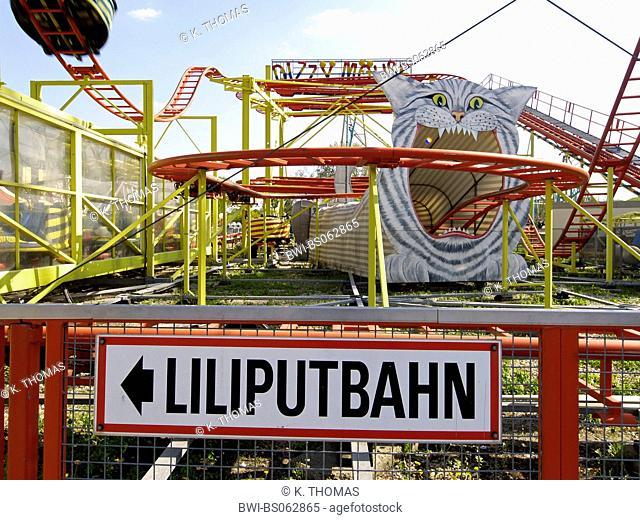 Vienna, Prater, roller coaster sign midget railroad, Austria, Vienna, 2. district, Vienna - Prater