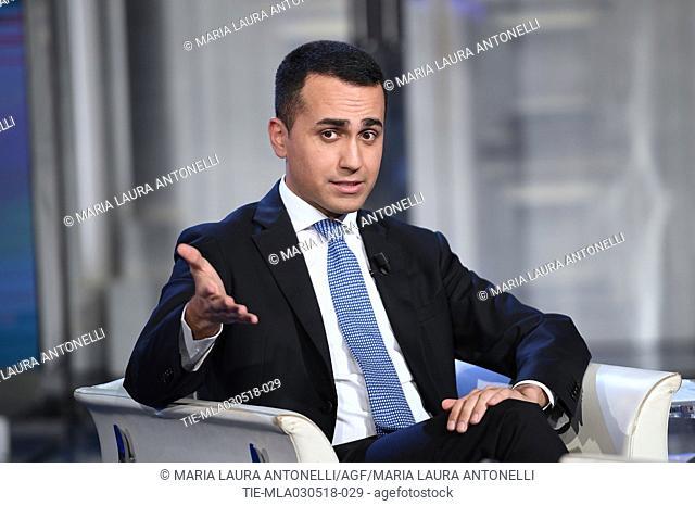 Leader of 5 Star Movement Luigi Di Maio during the tv show Porta a porta, Rome, ITALY-02-05-2018