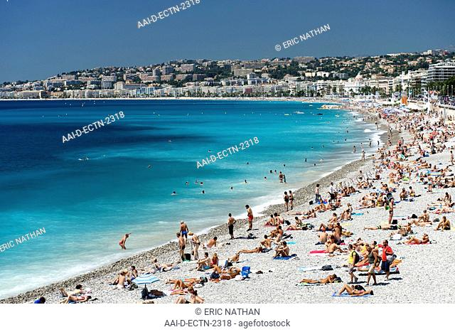 The beach and waters of the Baie des Anges Bay of Angels in Nice on the Meditteranean coast in southern France