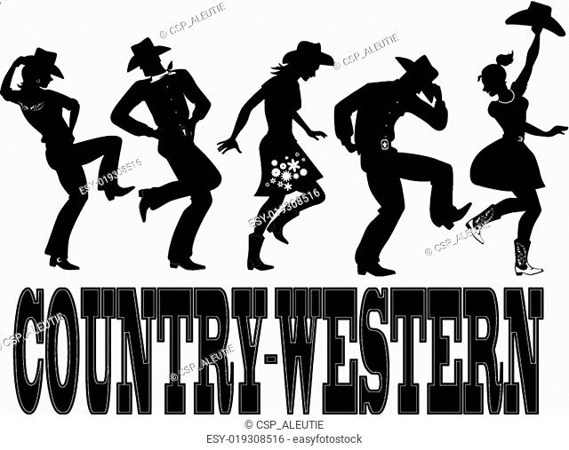 Country-western dance silhouette ba