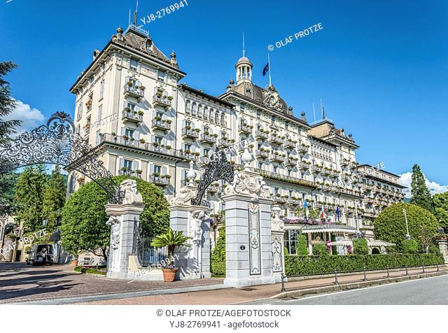 Grand Hotel Des Iles Borromees at the waterfront of Stresa at Lago Maggiore, Lombardy, Italy