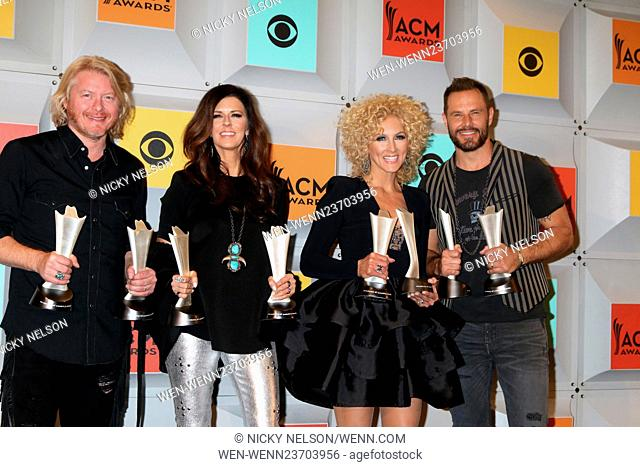 51st Academy of Country Music Awards Press Room at the MGM Grand Garden Arena on April 3, 2016 in Las Vegas, NV Featuring: Philip Sweet, Karen Fairchild