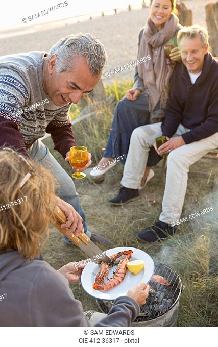 Mature couples barbecuing and drinking wine on beach