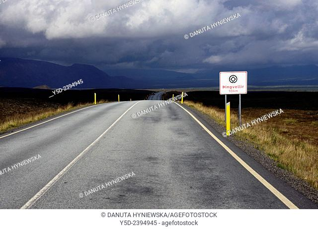 Road number 360 from Nesjavellir to Thingvellir, central Iceland