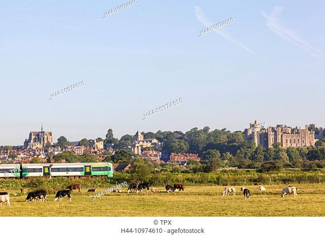 England, West Sussex, Arundel, Town Skyline and Train