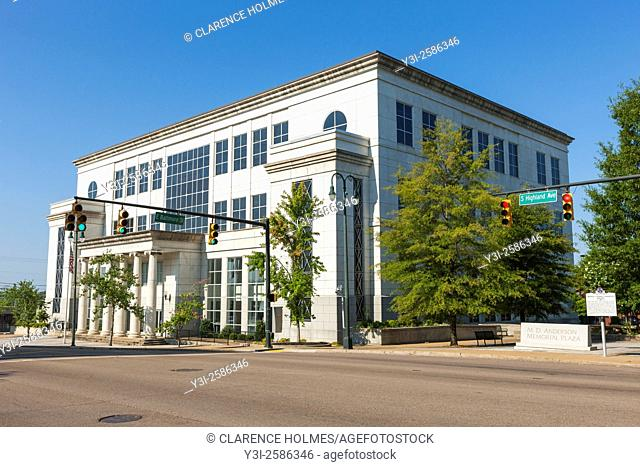 The United States District Courthouse for the Western District of Tennessee is bathed in early morning light shortly after sunrise on S Highland Avenue in...