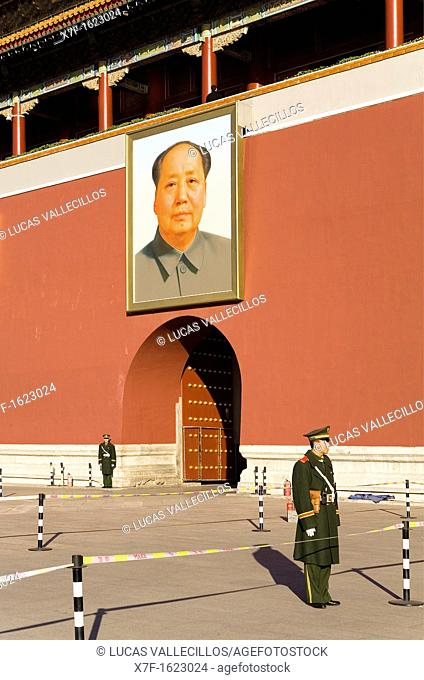 Guards in Gate of Heavenly Peace with Portrait of Mao Ze Dong ,in Tiananmen Square,Beijing, China