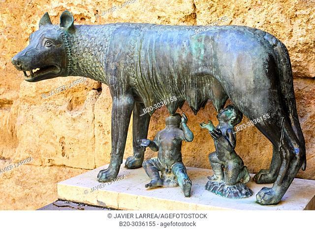 Augustus Palace, Rome Symbol, The wolf and Romulus and Remus, Praetorium and Roman Circus, History Museum of Tarragona (MHT), Tarragona City, Catalonia, Spain