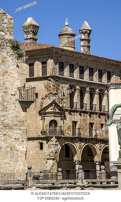 Unusual chimneys on the building of Palace of Carrajal Vargas at Plaza Mayor in Trujillo, Extremadura, Spain