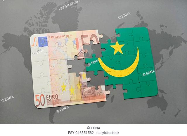 puzzle with the national flag of mauritania and euro banknote on a world map background. 3D illustration