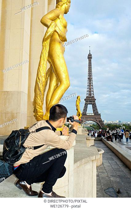 Paris, France, Young Chinese Man Taking Photos Eiffel Tower, from Trocadero