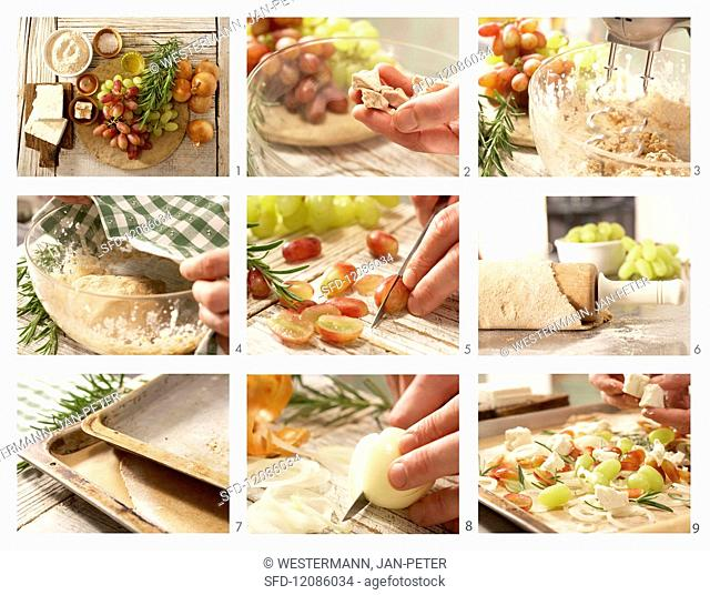 How to prepare an onion flatbread with grapes, sheep's cheese and rosemary
