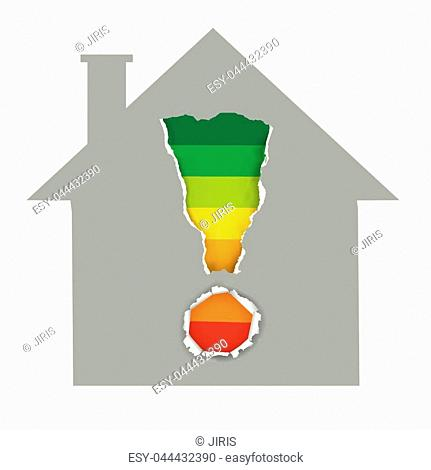 House symbol with Exclamation mark with Energy Performance Scale