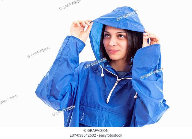 Woman wearing raincoat, isolated on white