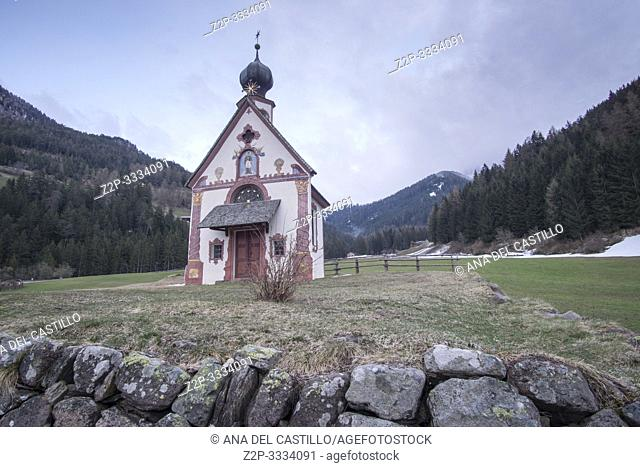 Santa Maddalena in Val di Funes, - Villnoss, Southtirol North of Italy. Chiesetta di San Giovanni in Ranui