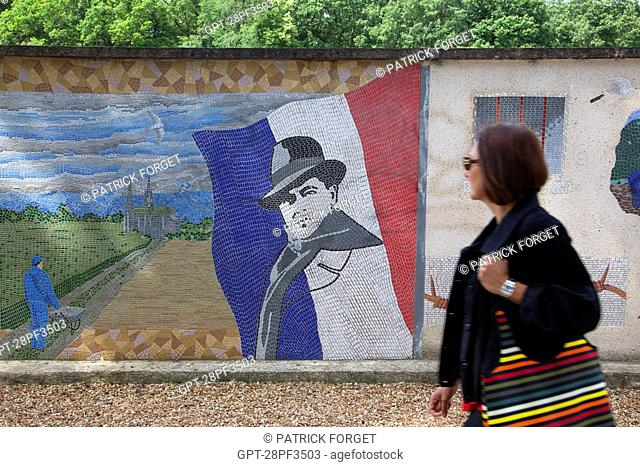 MOSAIC ON A CITY WALL REPRESENTING THE GREAT FIGURES WHO MARKED THE DEPARTMENT'S HISTORY, JEAN MOULIN JUNE 20, 1899 - JULY 8 1943, HERO OF THE RESISTANCE