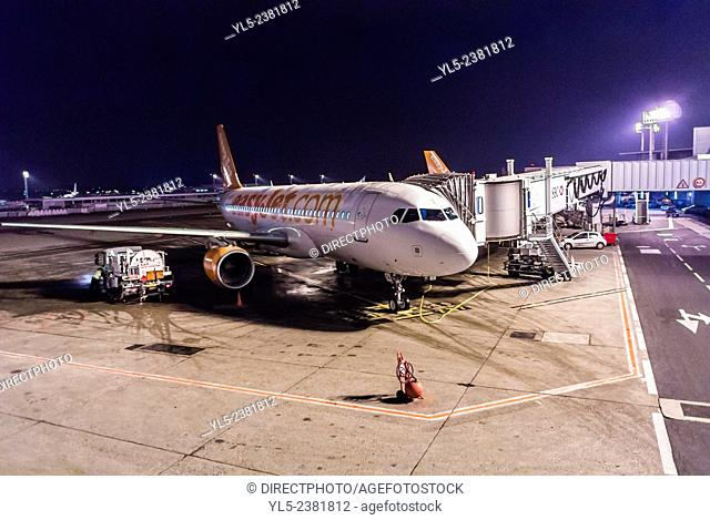 Paris, France, Plane at Night on Tarmac of Orly Airport, 'Easy Jet' Airline