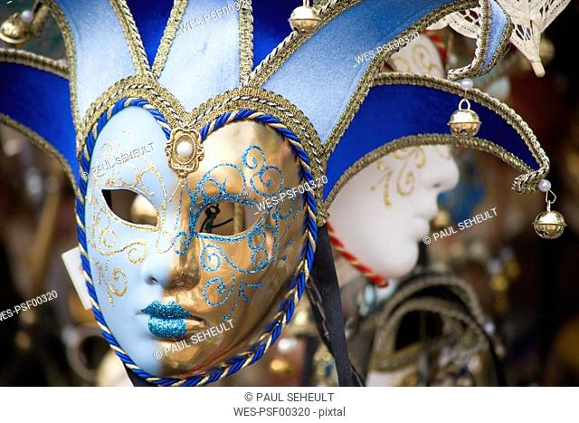 Italy, Venice, Carnival masks, close up