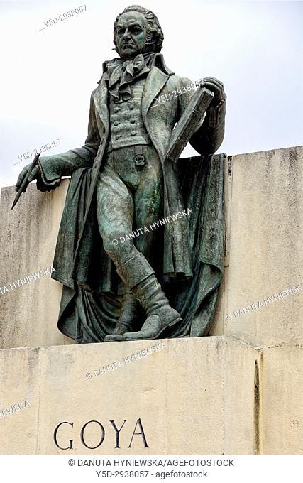 Back of Francisco Goya statue, Plaza del Pilar, Zaragoza, Aragon, Spain, Europe