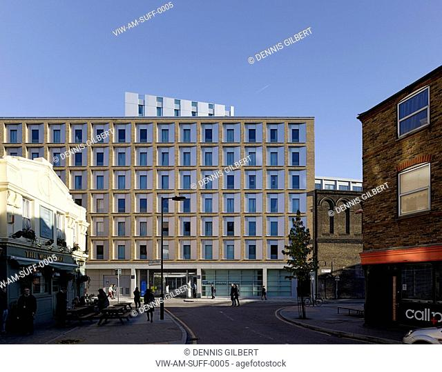 RESIDENTIAL STUDENT HOUSING ALLIES AND MORRISON LONDON 2010 GRAND ELEVATION FROM DOLBEN STREETLONDON, UNITED KINGDOM, Architect