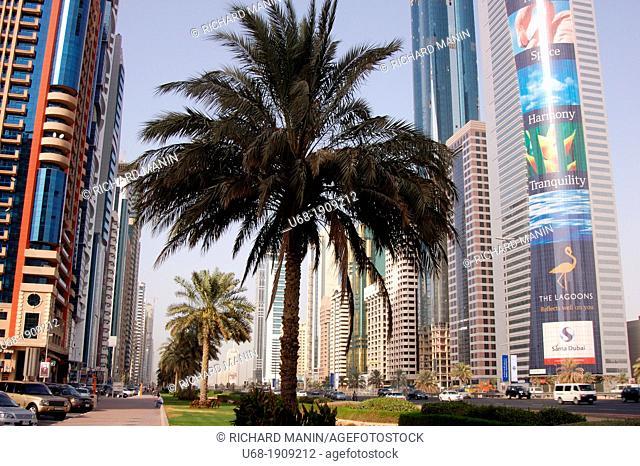 United Arab Emirates, Dubai. The business district of Dubai. the world trade center, Emirates Towers, Dubai International Convention and Exhibition Centre